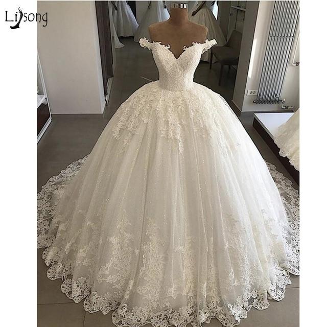 Lace Wedding Dresses Plus Size Appliques Dubai Elegant Bridal Gowns Lace Up Puffy Ball Gowns Vestido De Novia