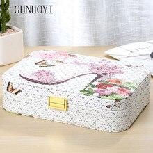 GUNUOYI Princess High-grade Leather Cosmetic Case Makeup Case Jewelry Bin Personalized Decorations Receive a Cassette Model -070