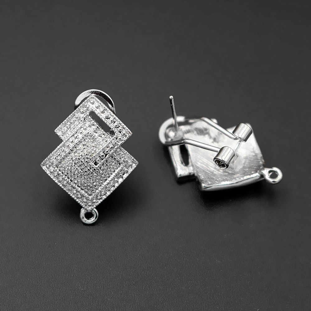 Afryki Chile kolczyki Post z pętli wieszak złącza podwójne kwadratowa podstawa ucha klip kolczyk ustalenia DIY kobiet ślub kolczyk