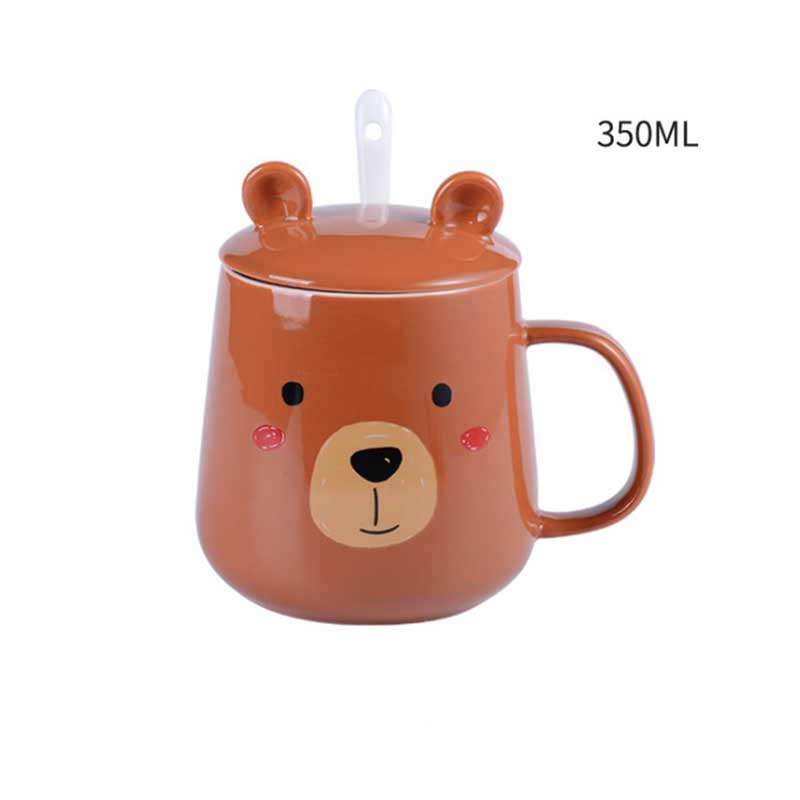 cute 350 ml three dimensional animal cartoon ceramic mug office drinking cup with lid spoon breakfast cup coffee cup in Mugs from Home Garden