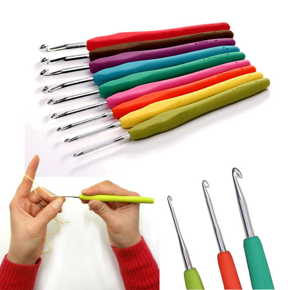 13.7cm 9pcs Multicolor Knitting Needles Mixed Metal Hook Crochet Template Kit TPR And Aluminum For Loom Tool Band DIY Crafts13.7cm 9pcs Multicolor Knitting Needles Mixed Metal Hook Crochet Template Kit TPR And Aluminum For Loom Tool Band DIY Crafts