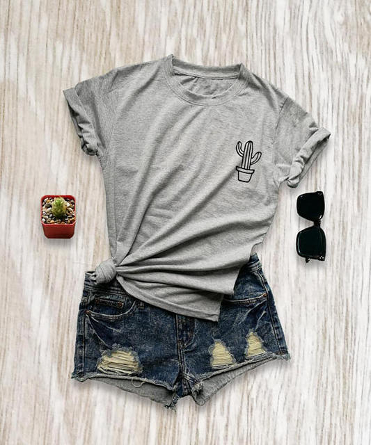 Cotton Cactus Print T-Shirt