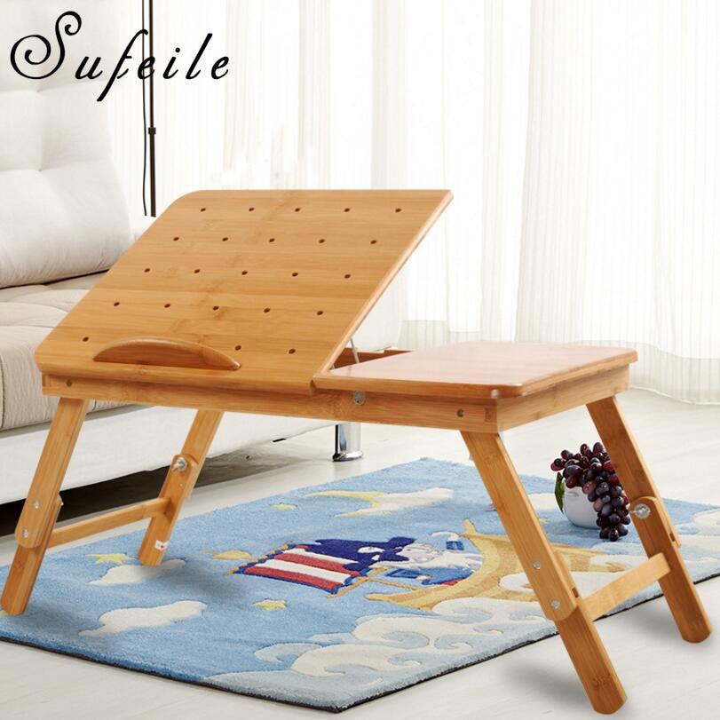 sufeile natural bamboo laptop table desk adjustable height folding table computer desk portable learning laptop desk