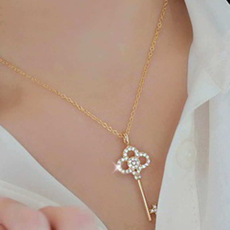 Choker New Limited Collier Maxi Necklace N10063 Korean Edition Brief Paragraph Crystal Set Auger Clavicle Hollow Out Key Chain