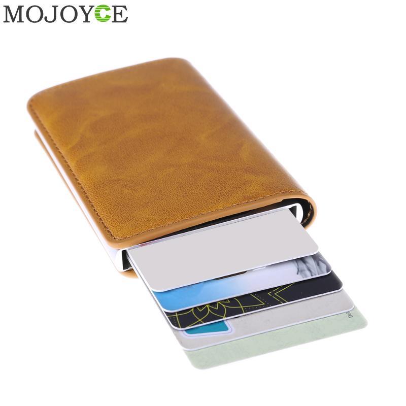 Из Металла Для мужчин держатель для Карт RFID алюминиевый сплав кредитных держатель для карт Кожаный Бумажник Противоугонные Для мужчин кошельки автоматические всплывающие Card Case