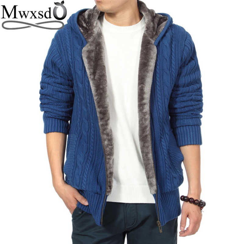 Mwxsd brand winter Men s casual thick fur warm hooded cardigan sweater men  warm Zipper knitting jacket 66e9e458c05f