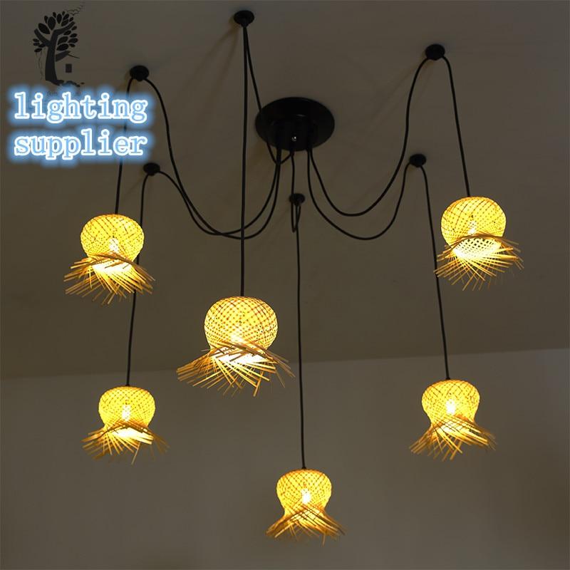 nordic modern bamboo spider edison chandelier pendant lamp vintage retro industrial pendant light for bar coffee shop restaurant