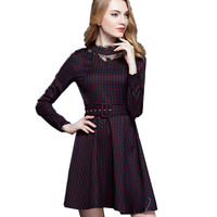 Plaid Kleid Ballkleid Arbeit Kleid A-Line Sommer langarm hohe taille Elegantes Kleid vestidos England Stil