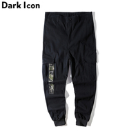 DARKICON Side Pockets Camo Patch Men S Cargo Pants Twill Material Harem Pants Men Cotton Trousers