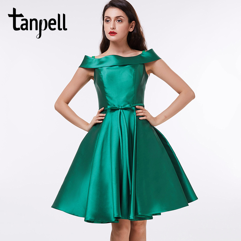 Tanpell short cocktail dress off the shoulder dark green knee length a line gown satin draped ladies homecoming cocktail dresses