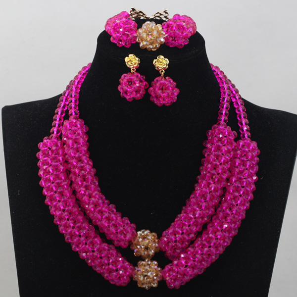 Pretty Fuchsia Pink Choker Crystal Pendant Necklace Set Handmade Pink and Gold Necklace Earrings Gift Set Free Shipping WD706