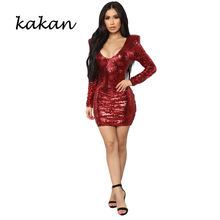 Kakan 2019 spring new womens sequin dress fashion slim red sexy nightclub club party