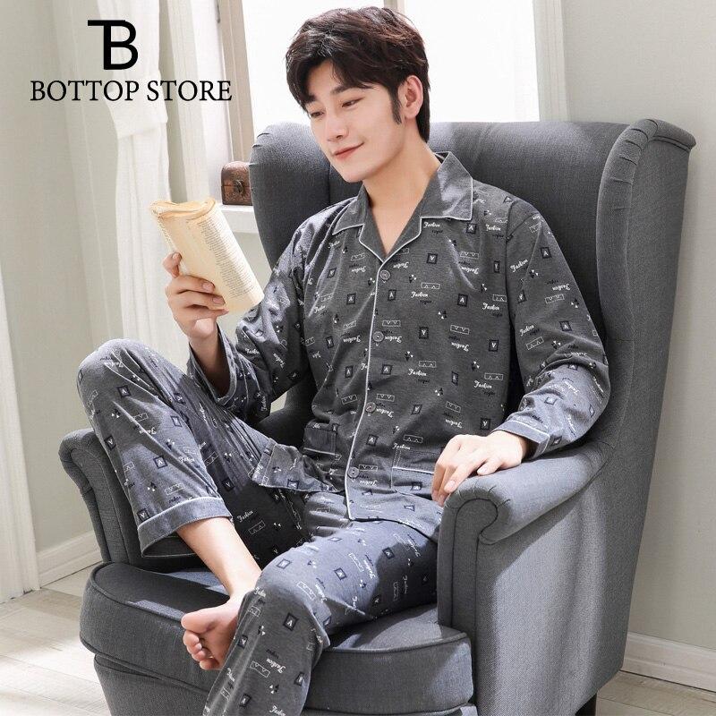 Mens Pajama Set Sleepwear Men Sleep Lounge Nightgowns Man Nightwear Male Night Wear Geometric Gay Sleep Suit Youth Pyjamas