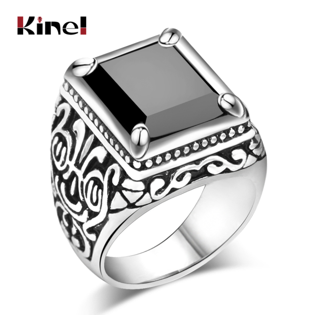 Kinel Hot Black Rings Mens Filled Silver Color AAA Resin Wedding