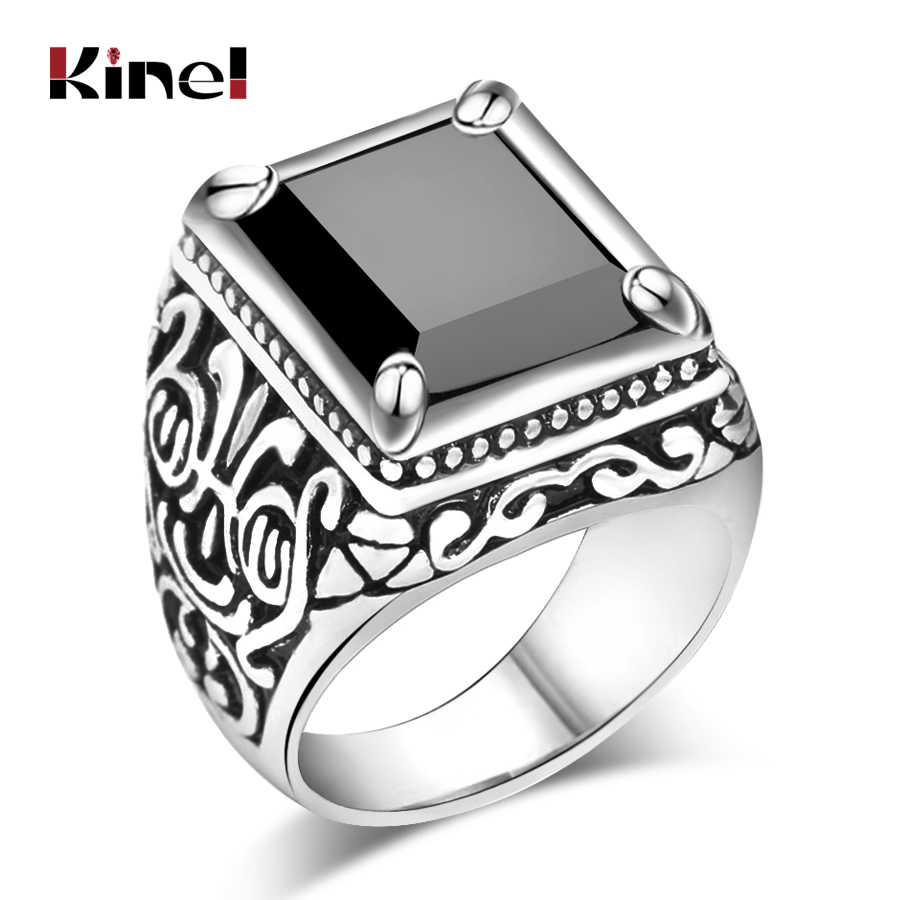 Kinel Hot Black Rings Mens Filled Silver Color AAA Resin Wedding Ring For Men Big Size 11 Vintage Jewelry Wholesale