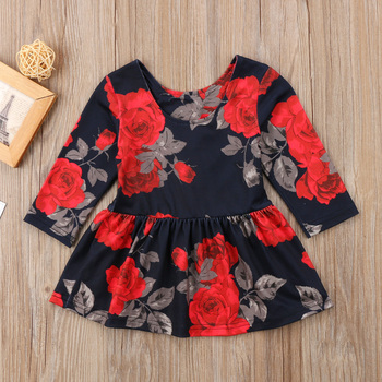 Newborn Clothes Fashion Baby Girl Floral Long Sleeve Party Pageant Prom Dress Winter Spring New year black dresses for baby girl 1