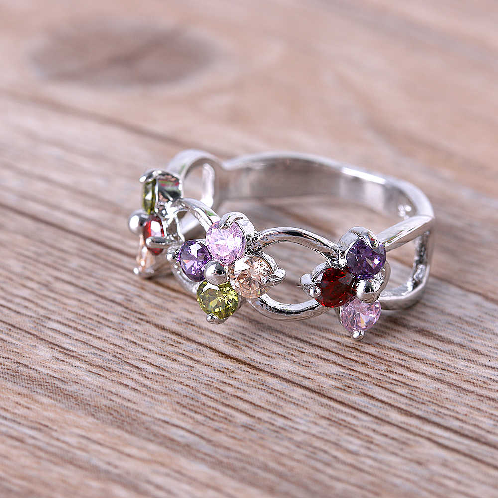 c1505f60df 1 Pc Fashion Silver Plated Flower Rings Natural Colorful Rhinestone Peridot  Ring Jewelry for women