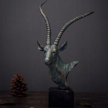 Скульптура овечки, украшение для дома в американской стране, украшение для отеля, кафе, украшение из смолы, голова антилопы, украшения