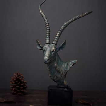 Sheep Sculpture American Country Home Decoration Decoration Hotel Cafe Decoration Resin Crafts Antelope Head Ornaments