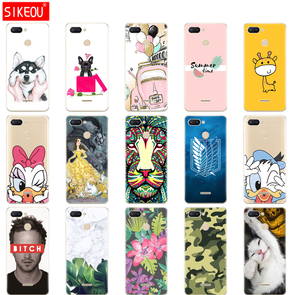 Silicone Case For Xiaomi Redmi 6 Cases Soft Tpu Back Cover Phone Cases For Xiaomi Redmi6 Bumper Hongmi 6 Coque Dog
