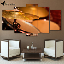 HD printed 5 piece Canvas Art Drum Painting Music Instrument Framed Vintage Wall Picture for Living