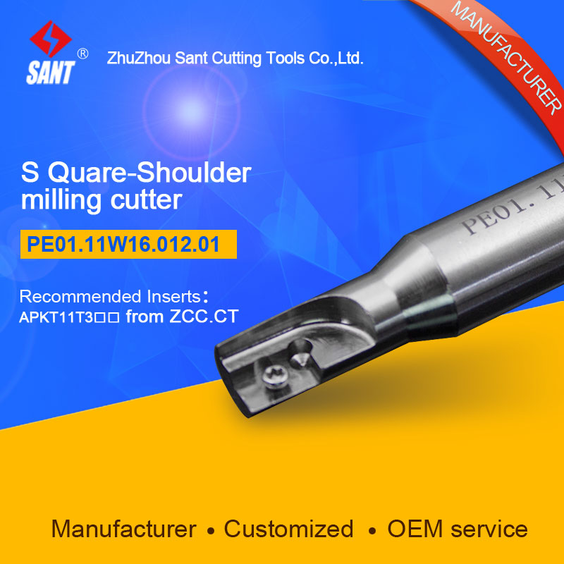 Zhuzhou Sant Indexable milling cutter with 90degree EMP01-012-XP16-AP11-01/PE01.11W16.012.01 Mached carbide insert APKT11T308