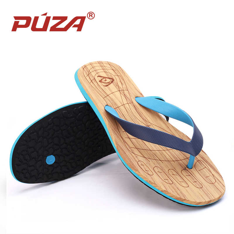 e733a5bf847dea PUZA summer Men Wood Grain Flat Wedge Sandals Bathroom Non-slip Flip Flops  Slippers Beach