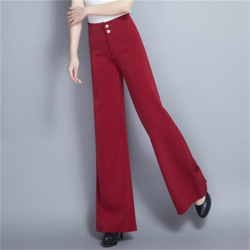 Causal Wide Leg Pants With Color Block Women Pants Mid Elastic Waist Pants Loose Straight Flat Trousers Long Trousers