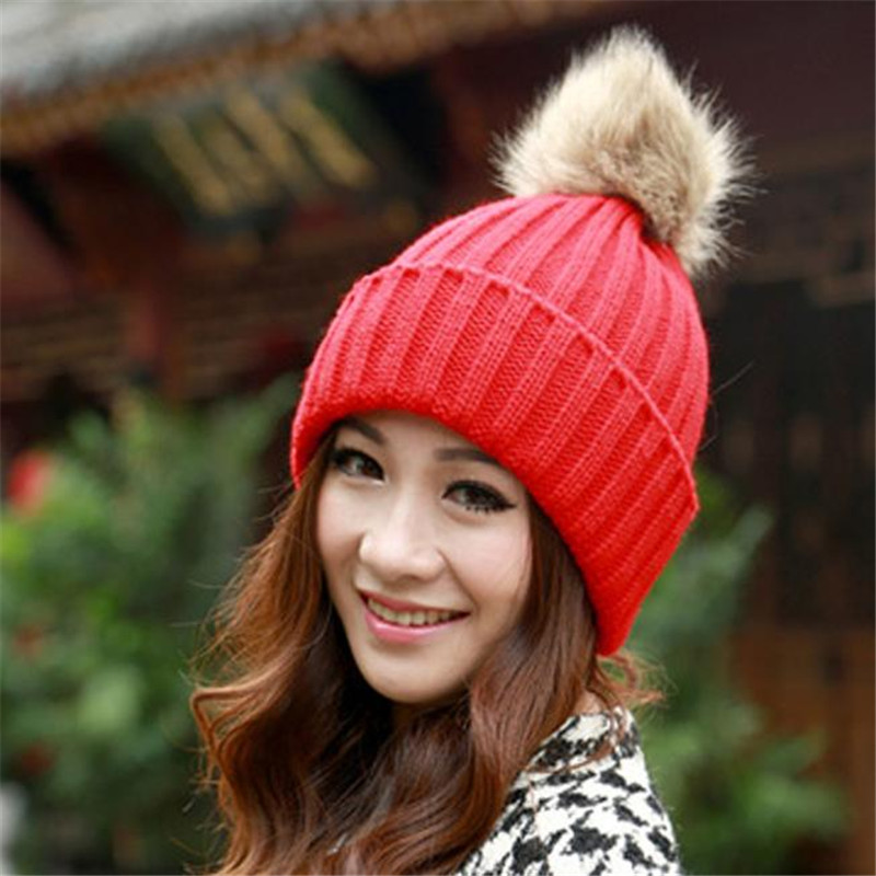 a5853d4d497f6 2016 Women Spring Winter Hats Beanies Knitted Cap Crochet Hat Rabbit Fur  Pompons Ear Protect Casual Cap Chapeu Fe