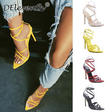 0968cb0b6e4 DEleventh New Brand Fashion Pointed Toe Stiletto High Heels Sandals Woman  Party Wedding Shoes Red SIMMI