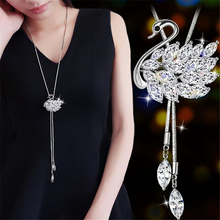 Zircon Long Necklace for Women Fashion Silver Color Crystal Maxi Necklaces & Pendants