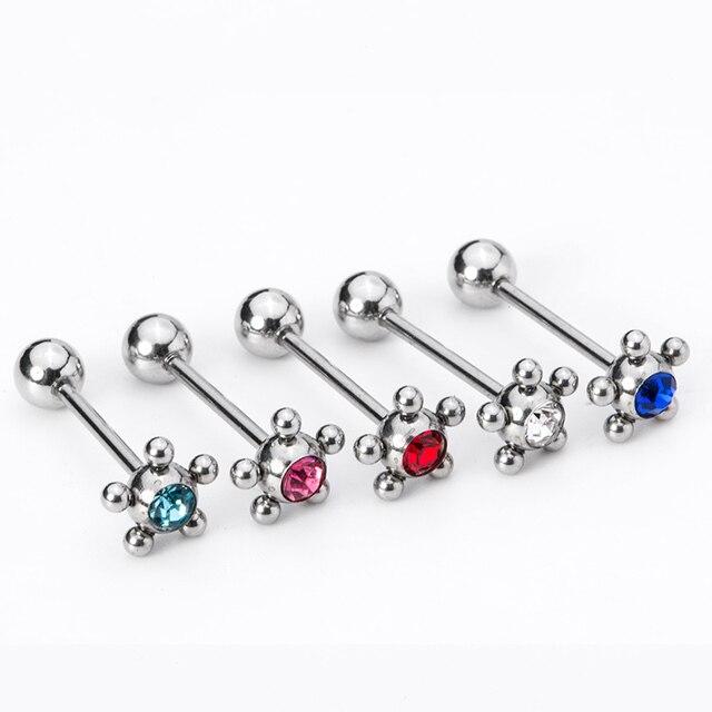 zirconia piercing jewelry Allergy-pole simple models tongue nail tongue  ring rhinestone bone nail nipple barbell fd8805acc7d4