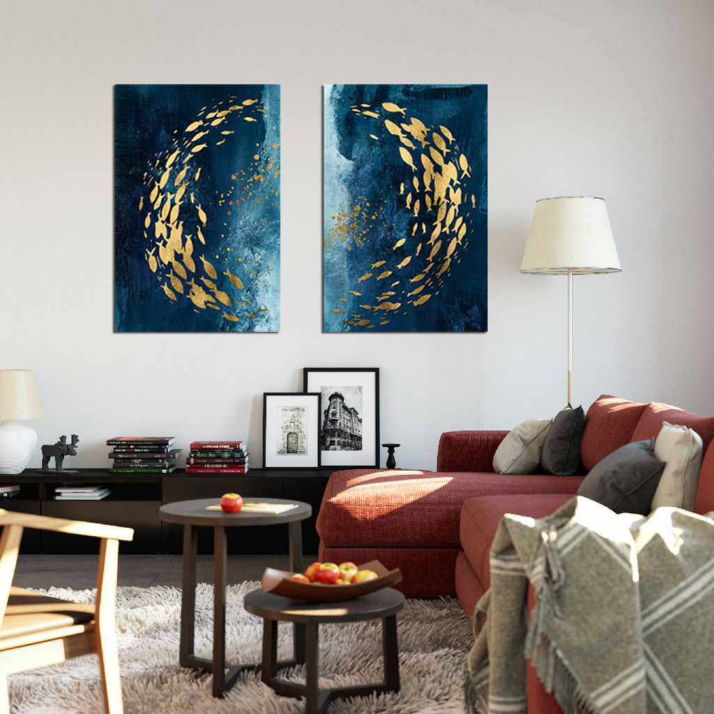 Nordic Style Painting Golden Fish Prints Wall Art Posters Decorative Picture Modern Home Bedroom Decoration L3