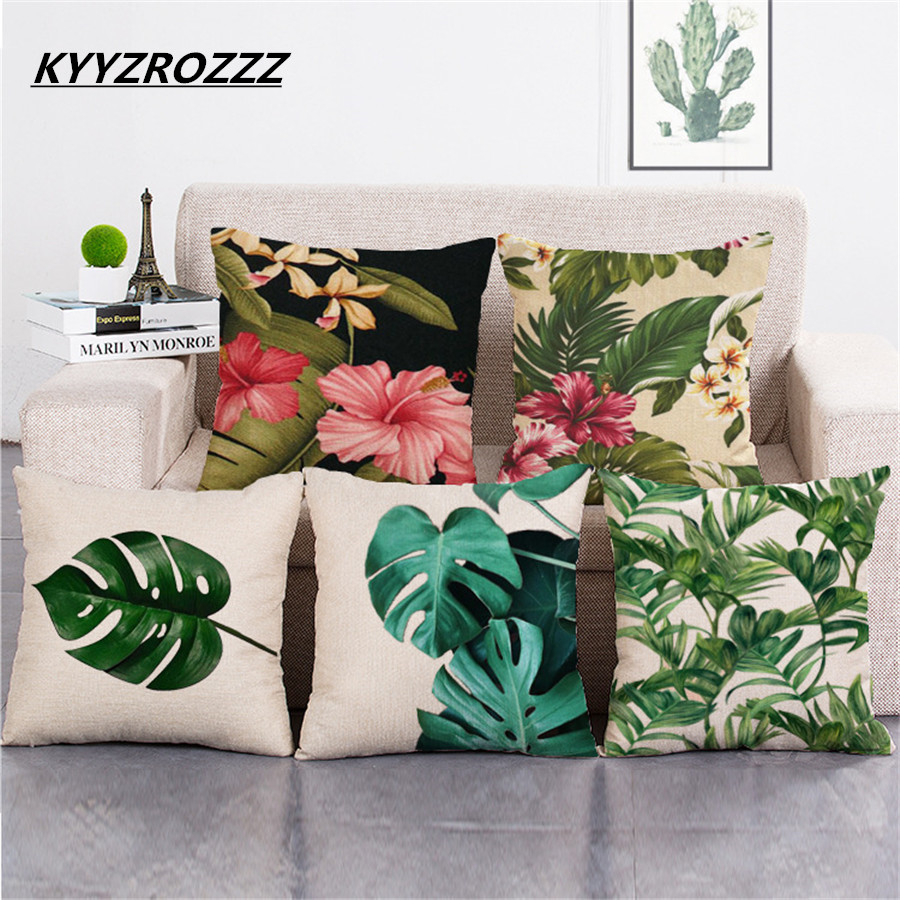 Palm Tree Cushion Cover Green Leaf Tropical Plant Flamingo Birds Pillow Cases Eye Protection Oil Paint Bedroom Sofa Decor