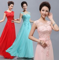 Cheap Floor Length Long Lace Red Light Pink Ice Blue Yellow Blush Bridesmaid Dress 2017 Hot