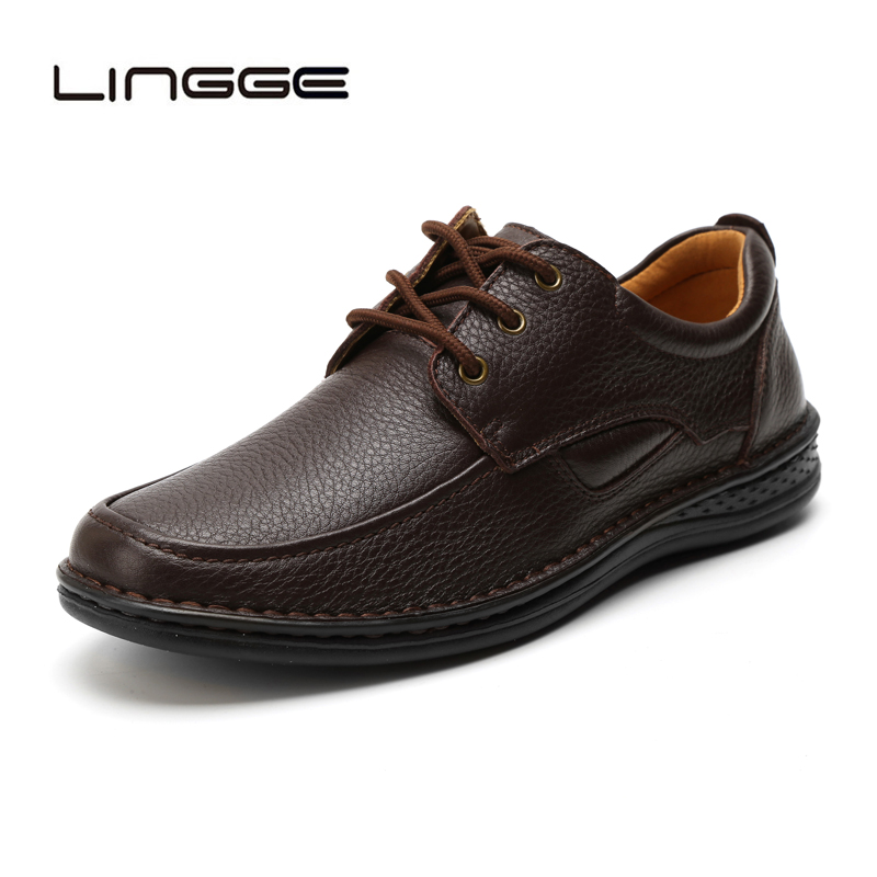 LINGGE 2019 Handmade Men Casual Shoes 100 Genuine Leather Men Flats Shoes Men Business Leather Shoes
