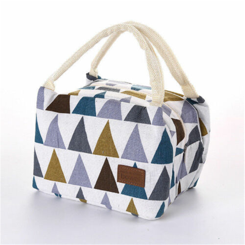 Duopindun Multi Colors Hot Selling Lunch Bag Insulated Women Tote Box Linen Thermal Insulation Material Picnic Carry Girls Bag