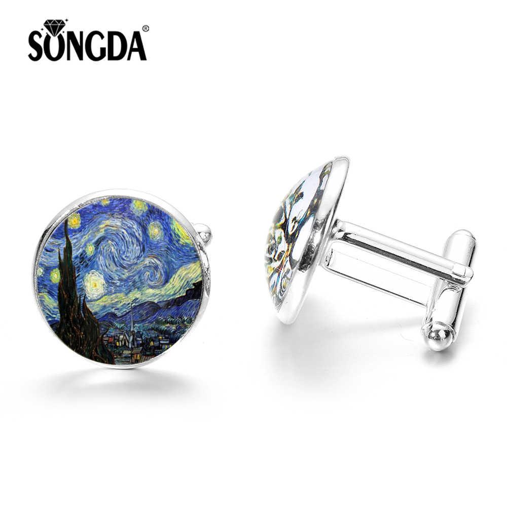 SONGDA Van Gogh pintura gemelos la noche estrellada cristal claro gema gemelos botón hombres camisa Vogue plata Retro bronce elegir