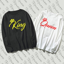 2019 Pure Cotton T-Shirt Couple Costume King And Queen Art Printed Long Sleeve Fashion Casual Tops & Tees Brand Unisex Clothing(China)