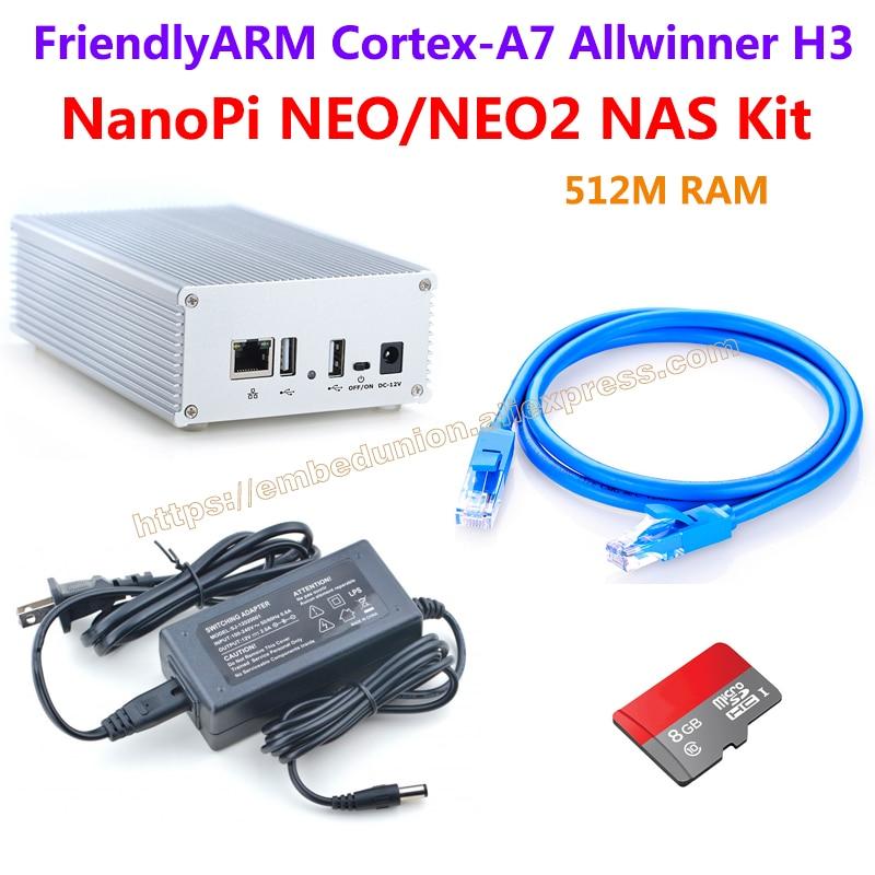 FriendlyARM NanoPi NEO/NEO2 1-bay NAS Kit , Includes NanoPi NEO/NEO2 1-bay NAS KIT/Ethernet Cable/8GB TF Card.,etc