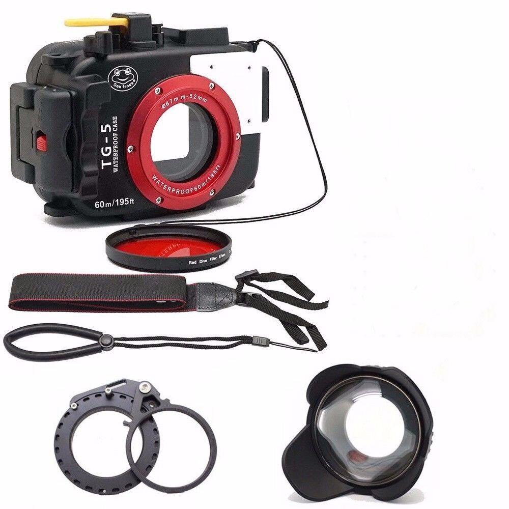 Seafrogs 195FT/60M Underwater camera waterproof diving housing for Olympus TG-5+67mm Fisheye Lens+Red Filter+thread flip adapter