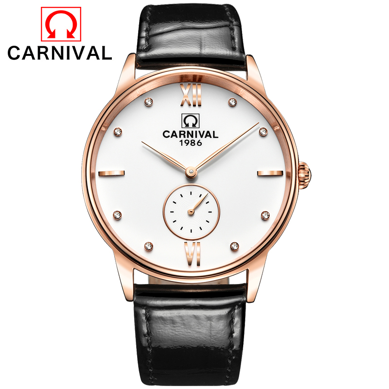 Carnival Watch Men Quartz Ultrathin Dail Waterproof Rose Gold Stainless Steel Black Leather White Watches