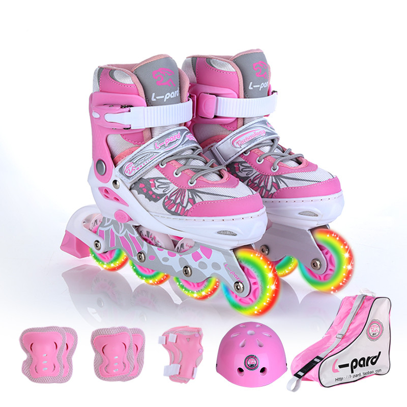 kids roller skates of ABEC-7 axle bearing, size can adjust skate shoes, flash wheels roller skates shoes with protector лампа hb3 clearlight 12v 60w x treme vision 150