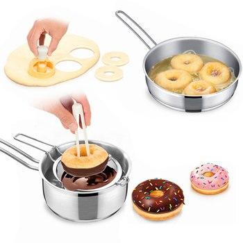Cortador de masa para hacer donuts freir y echar chocolate