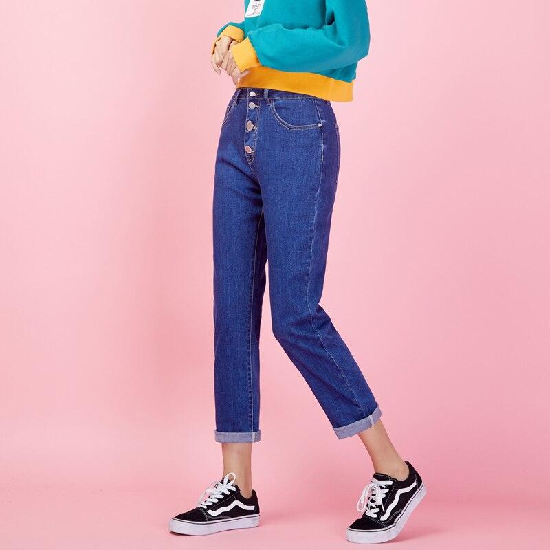LEIJIJEANS New Arrival Spring Vintage Mid plus size XL women   jeans   casual blue Ankle length Slim straight   jeans   women 9044