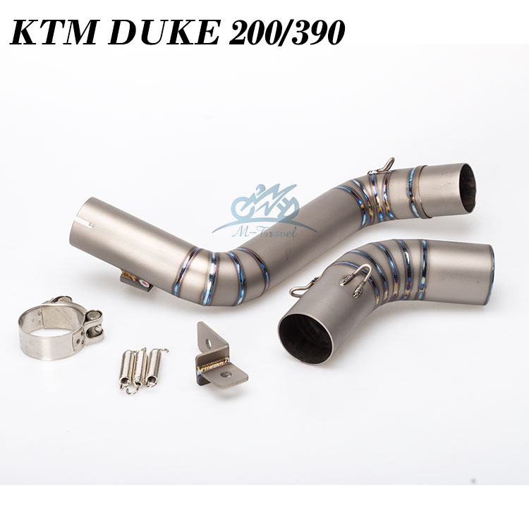 Motorcycle Exhaust middle pipe for KTM DUKE 200 DUKE 390 2012-2016 titanium alloy link pipe good quality fit for 51mm exhaust duke125 duke 200 motorcycle exhaust middle pipe exhaust link pipe motorbike mid pipe for ktm duke125 duke 200 duke 250 duke 390