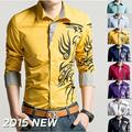 Camisas Blusas Camisa Social Animal de La Venta Caliente 2016 de Los Nuevos Hombres Casual Charretera Diseño Delgado Camisa Camisas de manga larga vestido de Esmoquin