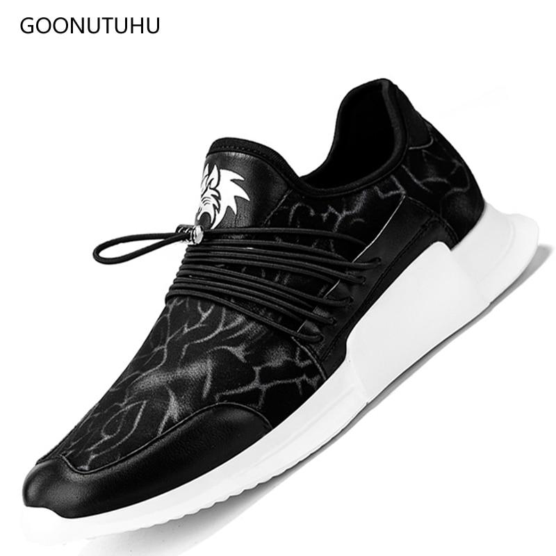 0554da834 2018 Новая модная мужская обувь повседневная Летняя черная обувь на  платформе, воздухопроницаемые кроссовки для мужчин