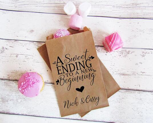 Us 15 56 18 Off Personalized Text Birthday Wedding Popcorn Candy Buffet Treat Bags Bridal Baby Shower Bakery Cookie Favors Packets In Gift