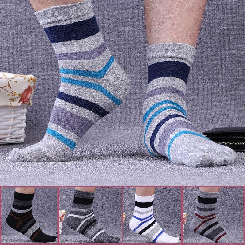 5 пар в партии хлопковые полосатые носки с пальцами Для мужчин Fashion Crew пять пальцев носки мужские брендовые Повседневное носком носки 5 цвето...